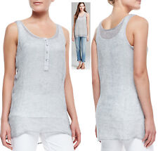 $158 Eileen Fisher Pewter Woven Sheer Linen Mesh Henley Tunic Tank Top