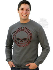 Harley-Davidson Mens Willie G Skull Logo Dark Grey Long Sleeve Thermal Shirt