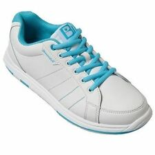 Brunswick Satin White/Aqua Blue Womens Bowling Shoes
