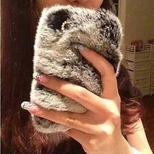 Bling Soft Rabbit Fur Warm Soft Hard Back Case Cover For iPhone 4S 5S 6 6 Plus