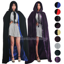 Gothic Velvet Hooded Cloaks Medieval Witch Wicca Wedding Cape Halloween Costume