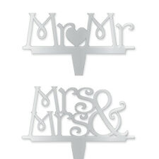 "Monogram Topper 4"" Mr Mrs Mirrored Wedding Cake Acrylic Silver Civil Partnership"