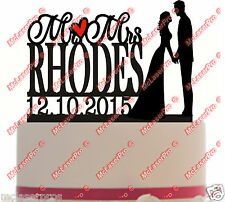 Custom Wedding Cake Topper with name/heart/date -Mr&Mrs Silhouette -Color Choice