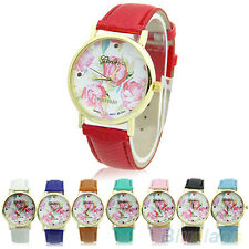 Girl Sweet New Geneva Rose Flower Faux Leather Analog Quartz Casual Wrist Watch