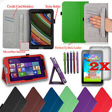 "For Acer Iconia W4-820 8"" Smart PU Leather Stand Cover Case + Accessories Bundle"