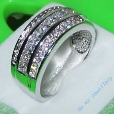 Classic Jewelry White Sapphire 10KT White Gold Filled Band Ring Size 8-13