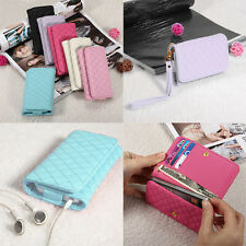 """Long PU Leather Wallet Credit/ID Cards Purse Cover Case  4.5"""" For Mobile Phone"""