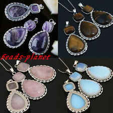 1PC Vintage Beauty Gemstone Square Teardrop Bead Pendant Fit Necklace DIY Gift