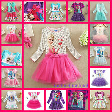 US Elsa Anna Disney Frozen Costume Party Gift Girls Dresses Size 1 to 10 Yrs