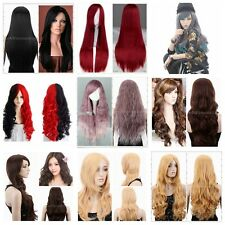 Women's Straight Wave Long Full Wigs Cosplay Party Wigs Costumes Heat Resistant