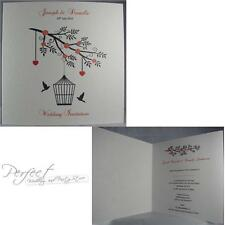 Personalised White Invite Wedding Day Side Fold Invitation Bird Cage Solid Heart