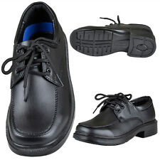 Boys Toddler Youth Faux Leather Lace Up Derby Oxfords Dress Shoes Black