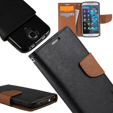 Flip Wallet Pouch Case For HTC phone PU Leather Folio Cover Black / Brown +TPU