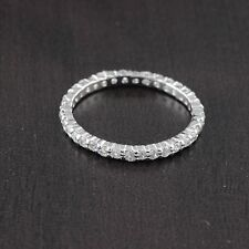 Womens 925 Sterling Silver CZ Rhodium Plated Wedding Band Ring