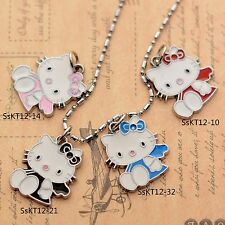 Valentine's Gift Cloak Hello Kitty Enameled Jewelry  Gilrs 2CM Pendant Necklace