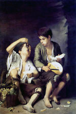TWO BOYS EATING MELON AND GRAPES FRUIT 1650 SPANISH PAINTING BY MURILLO REPRO