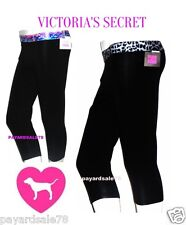 VICTORIA'S SECRET PINK YOGA SHORT CROP LEGGINGS BLACK PRINTED YOU PICK GYM PANT