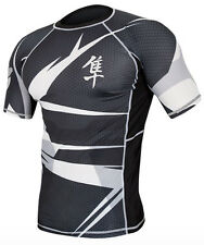 Hayabusa Metaru 47 Silver Short Sleeve Rashguard - Black/White