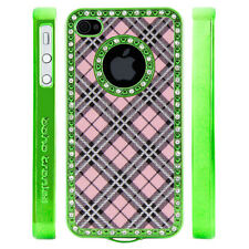 Apple iPhone 5 5S Gem Crystal Rhinestone Pink Silver Black Plaid case