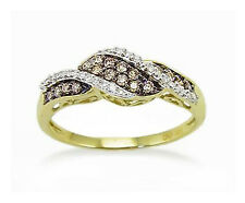 Pretty! 100% 10K Yellow Gold Chocolate Brown & White Diamond Fashion Ring .21ct
