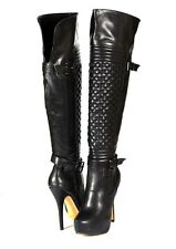 Black Super Hot Runway Moto Look Over the Knee Thigh High Stiletto Boots