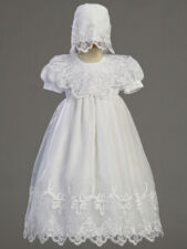 Infant Girls Christening Baptism Gown & Bonnet White Embroidered Organza 2560