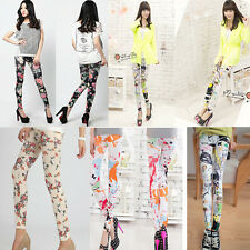 Seamless Fashion Colour Splash-ink Graffiti Leggings Nine Minutes Of Pants