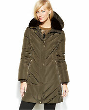 Nwt MICHAEL MICHAEL KORS Woman's Dark Moss Down Puffer Parka Coat 3/4 Hooded
