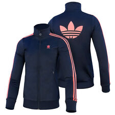 ADIDAS JUNIOR FIREBIRD TT G CHILDREN ORIGINALS JACKET NAVY RED ZEST F51427
