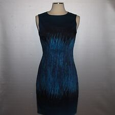 Nwt ELIE TAHARI Emory Blue Stretch Cotton Sheath Sleeveless Dress $398!