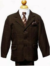 BOYS CHRISTMAS FORMAL SUIT SET , DEEP DARK BROWN,Sz: 4,5,6