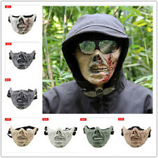Hot Halloween Military Zombie Skull Skeleton Half Face Mask Hunting Costume