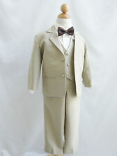 Boy Infant Toddler Teen Khaki/Taupe/Ivory bow tie wedding party formal suit
