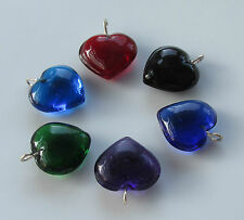 Jewellery Craft Design Project Glass Heart Charm Charms Pendant Bead 15mm Packs