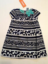 Gymboree CAPE COD CUTIE Girls size 2T 3T Navy/White Dot Stripe Dress NWT