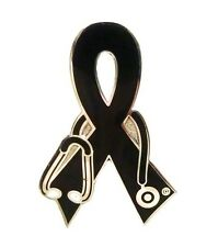 Black Ribbon Lapel Pin Awareness Stethoscope Nurse Doctor Vet Cancer Cause New