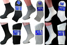 3,6 or 12 Pairs Diabetic Ankle/Crew Circulatory Socks Health Mens Womens Cotton