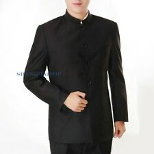 Men Single Breasted Suit Mao Chinese Tunic Jacket Pants Blazer Slim Fit Black