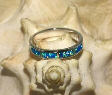 4MM RHODIUM ON STERLING SILVER MAN-MADE SPARKLY BLACK BLUE-GREEN OPAL RING 4-10