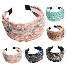 Lady Fashion Retro Wide Pleated Floral Headband HeadWrap Alice Hair Band