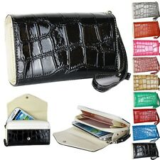 Black Wallet Leather Handbag Phone Case Purse for Galaxy S3 S4 iPhone 4 4S 5 5S