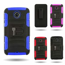 For Motorola Google Nexus 6 Hybrid Kickstand Case + Belt Clip Holster Cover
