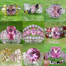 Sublimate mixed styles Pink topaz gems Silver  ring Sz 6-10 wedding jewelry