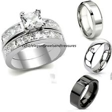 His Hers 3 Piece Stainless Steel Cz Princess Cut Bridal Wedding Band Ring Set