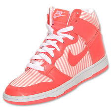 NEW NIKE DUNK HI HIGH SKINNY WOMENS 7 Hot Punch Pink Pinstripe