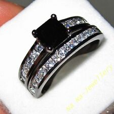 Deluxe Womens 18k Black Gold Filled Square Black White Sapphire Ring Set GIFT