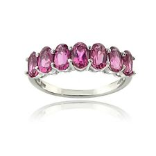 .925 Sterling Silver 1.75 Ct Pink Tourmaline Oval Half Eternity Band Ring