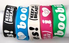 1 PCS I Love Boobies Pink Green White Blue Black Silicone Bracelet Wristband