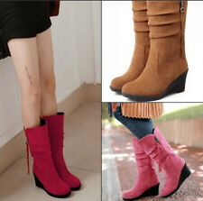 New Women's Shoes Faux Suede Wedge Med Heel Side Zip Mid Calf Boots AU All Size