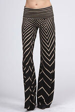 Black Ivory Sexy Aztec Chevron Print High Waist  Knit Palazzo Wide Leg Pants